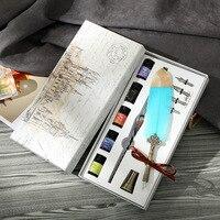 1PCS Glas Stift Tinte Mercury Sky Dip Kristall Stift Feder Set Student Hand Gradienten Farbe Net Rot Tinte Kalligraphie stift Schreibwaren