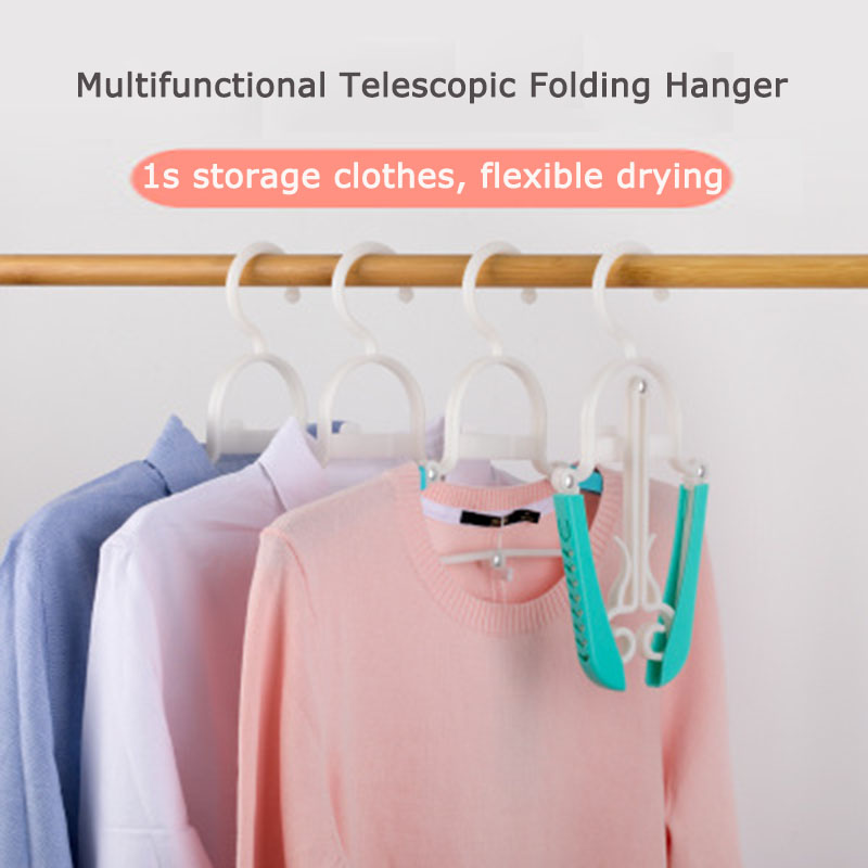 Telescopic Clothes Hanger Organizer Saving Space Stretchable Multi-function Household Folding Drying Rack Portable Travel Hanger