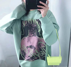 2020 Spring Men's and Women's Loose Cotton Abstract Print Pattern Sweatshirt Pullover A3