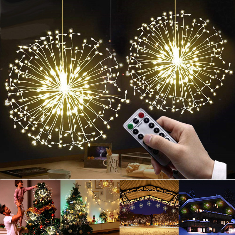 Festival Hanging Led String Lights Waterproof Warm White 100-200 Leds DIY Firework Copper Wire Christmas Wedding Party Light