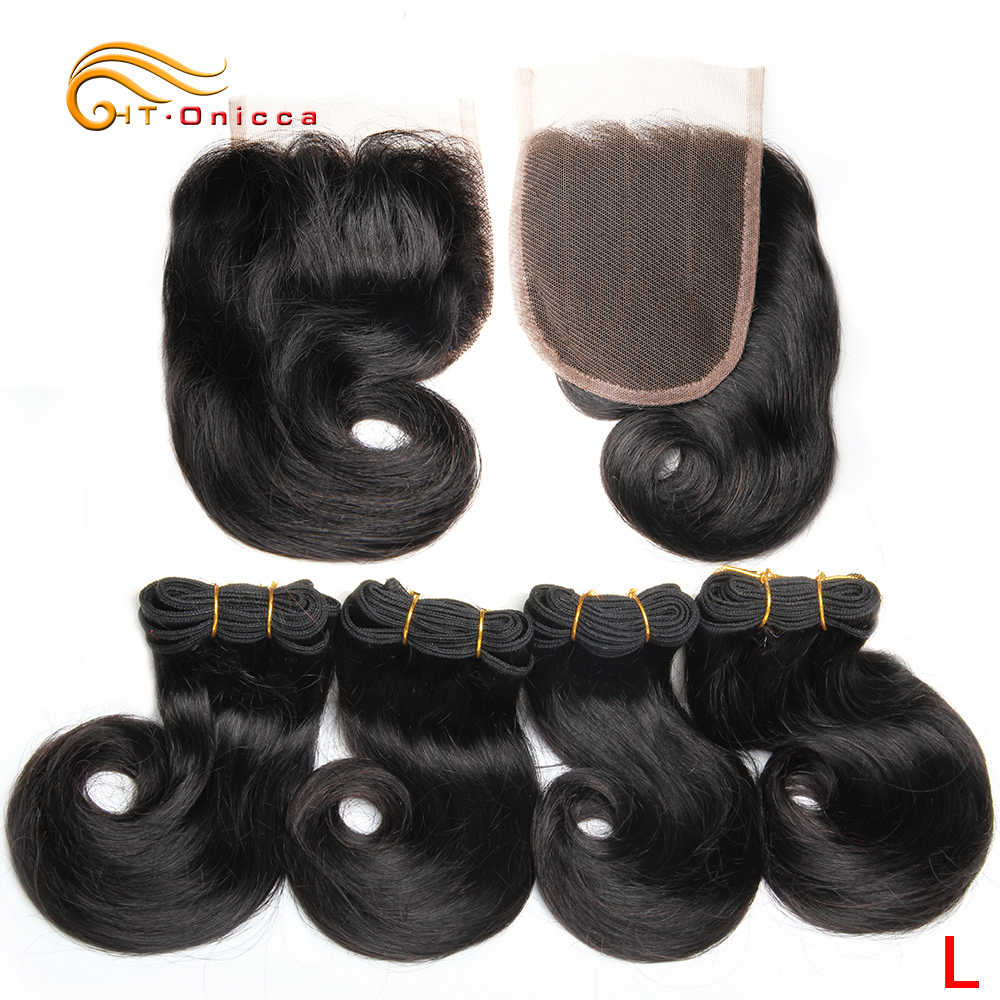 45g/piece Curly Bundles With Closure Brazilian Remy Hair Flexi/Pixie/Pissy Curl Human Hair Bundles With Closure