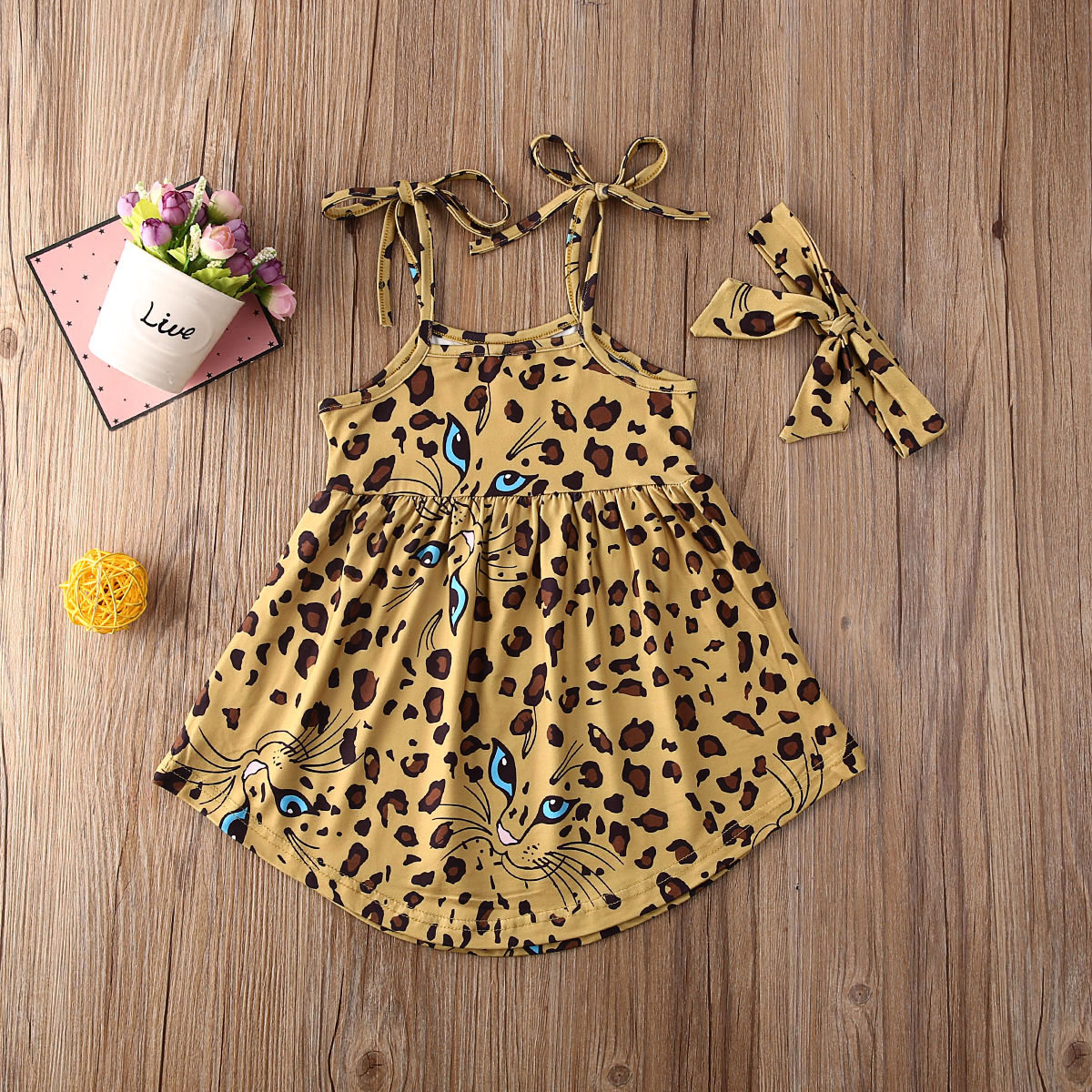 Pudcoco Newborn Baby Girl Clothes Leopard Print Sleeveless Strap Dress Headband 2Pcs Outfits Cotton Sunsuit Casual Clothes