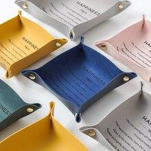 Plateau de rangement de bureau en cuir clé plaque décoration de la maison dés plateau clé portefeuille pièces de monnaie en cuir PU pliant boîte de rangement en gros