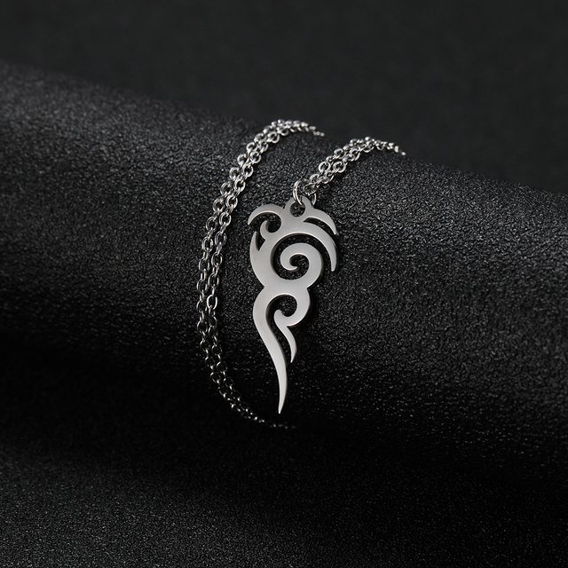 Cooltime Stainless Steel Retro Tribal Totem Easter Long Pendant Necklaces Black Amulet Necklace Jewelry Christmas Gift 8