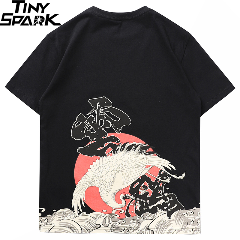 T Shirt Men 2020 Streetwear Chinese Kanji Tshirt Short Sleeve Cotton Hip Hop Harajuku T-Shirt Crane Wave Print Summer Tops Tees