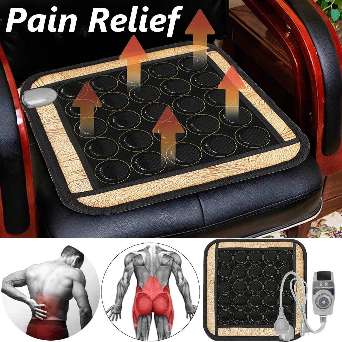 3 Type Heating Massage Mat Natural Jade Stone Pads Infrared Tourmaline Seat Pad Pain Relief Therapy Body Muscle Office  Home Car