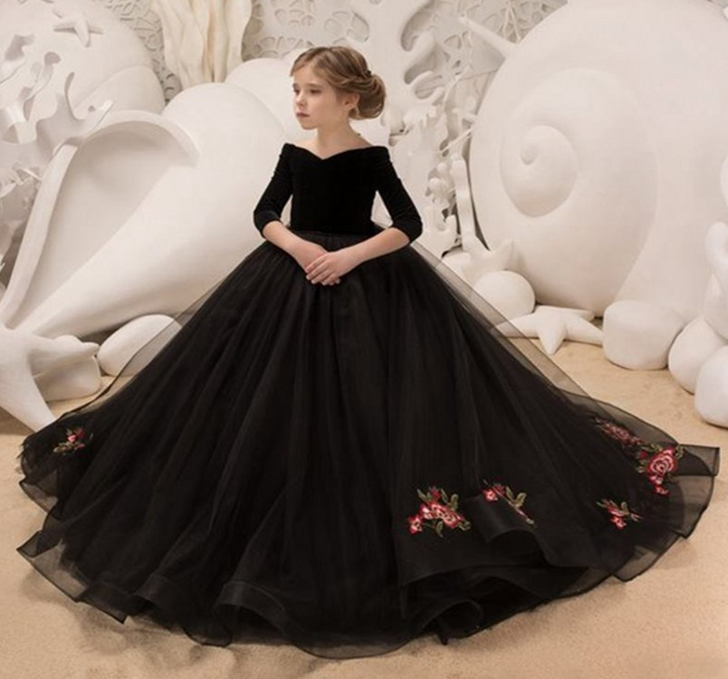 Girls Evening Dress Princess Dress 2019 New Style Nobility Big Kid Catwalks Long Sleeve CHILDREN'S Dress Off-the-Shoulder Tailin