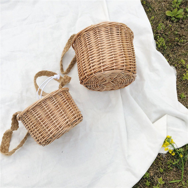Retro Women Handbags Tote Bags Handbag Wicker Rattan Bag Shoulder Shopping Straw Bag Storage Basket Organizer Totes