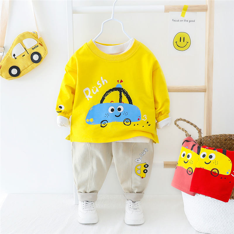 HYLKIDHUOSE 2020 Spring Infant T Shirt Pants Clothing Sets Toddler Baby Boys Girls Clothes Suits Cartoon Car Vacation Costume