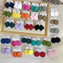 Europe And The United States Temperament Metal Square Earrings Candy Color Of Individual Character Vogue Round Stud Earrings