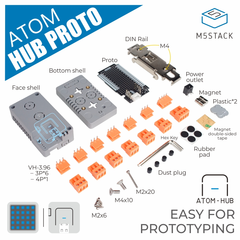 M5Stack Official ATOM HUB PROTO ESP32 Development DIY Proto Board Module Industrial Creative DIY Application
