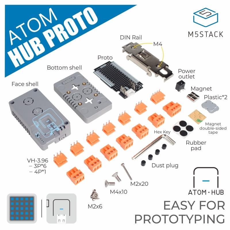 M5Stack Official ATOM HUB PROTO ESP32 Development DIY Proto Board Module Industrial Creative DIY Application