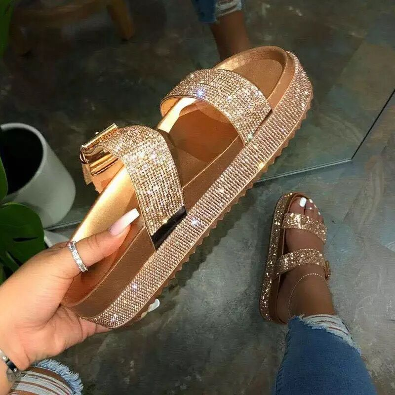 Flat Casual Female Summer Shoes Fashion Shiny Crystal Sexy Hollow Non-slip Platform Woman Sandals Comfortable Bling Footwear