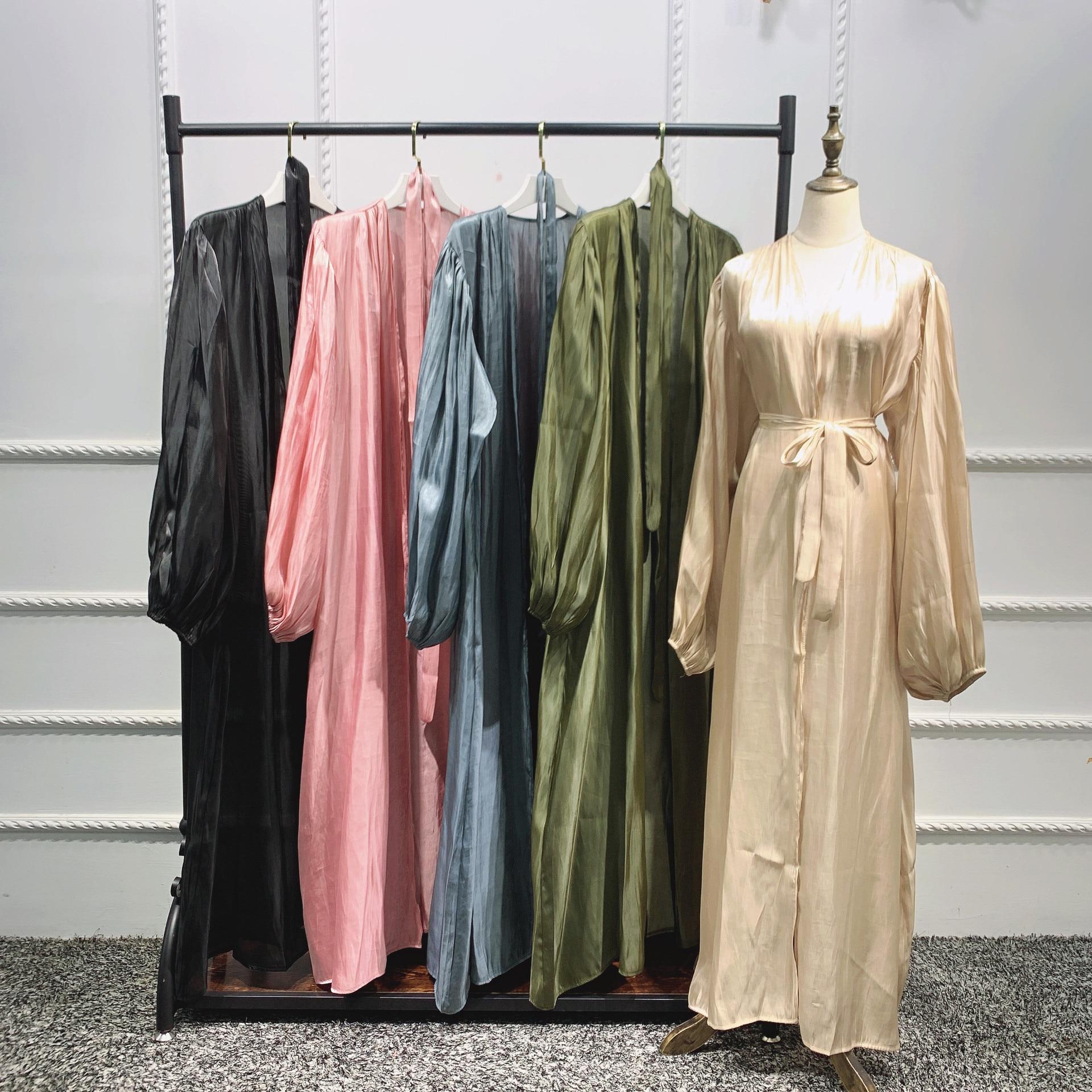 Robe Hijab Musulmane Eid Abaya dubaï, manches bulle, robes turques d'été, Abayas pour femmes, vêtements islamiques, Kimono Femme Musulmane 6