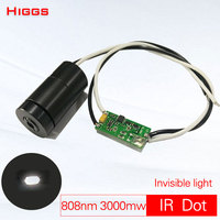 Big power invisible 808nm 3W infrared dot laser module IR Night vision supplementary lamp Square light Long range laser emitter