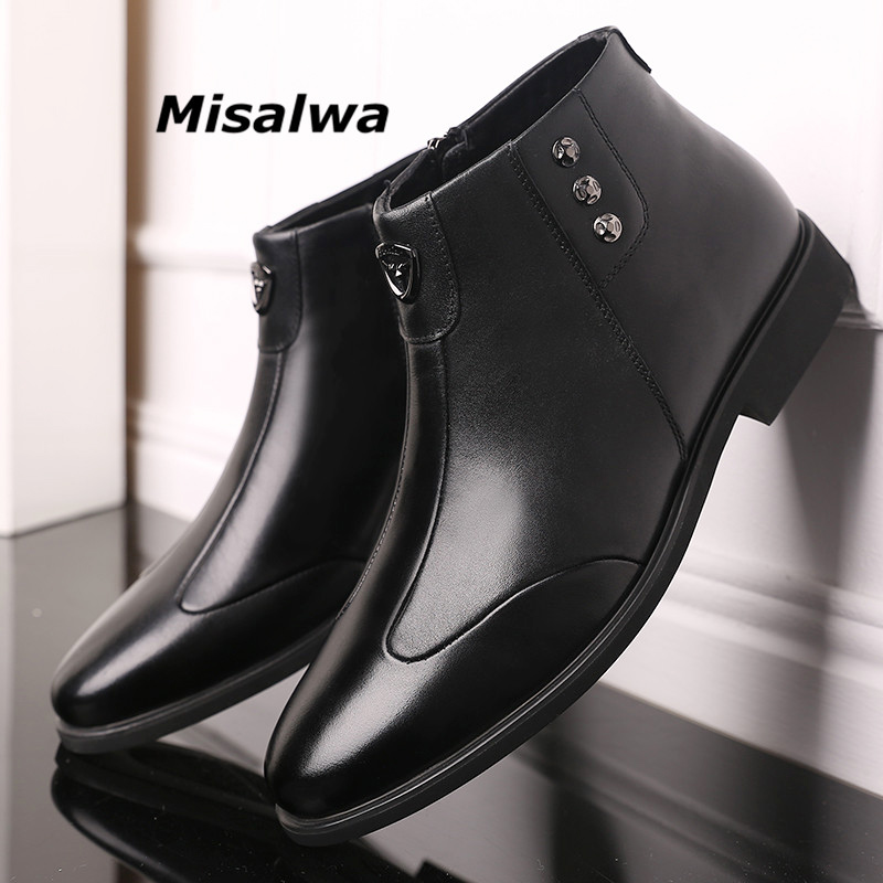 Misalwa Men's Winter Warm Leather Boots Black Zipper High-top Military Ankle Boots Men Autumn Comfortable Sneaker Big Size 38-48