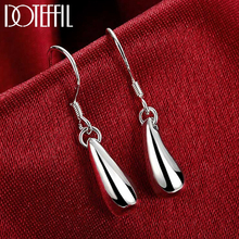 DOTEFFIL 925 Sterling Silver Water Droplets Raindrops Drop Earrings For Woman Wedding Engagement Party Fashion Charm Jewelry