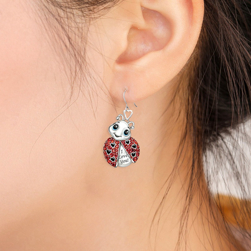 Exquisite Red Enamel Animal Ladybug Small Stud Earrings For Women I Love You Cute Ladybug Insect Stud Earrings Girls Jewelry