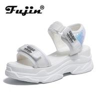Fujin sandales à talons hauts femme été 2020 femmes chaussures à fond épais cale avec bout ouvert plate-forme chaussures chaussures augmentées