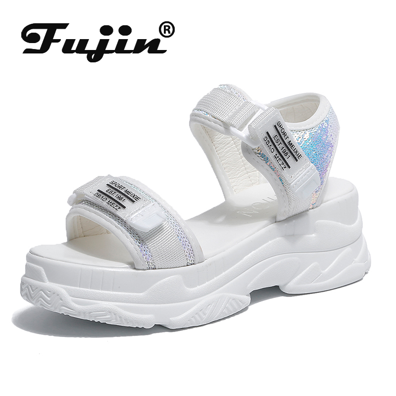 Fujin High Heeled Sandals Female Summer 2020 Women Thick Bottom Shoes Wedge with Open Toe Platform Shoes Increased Shoes