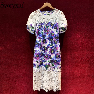 Svoryxiu Elegant Hollow Out Embroidery Patchwork Purple Flower Print Dress Women's Fashion Runway Summer Puff Sleeve Dresses