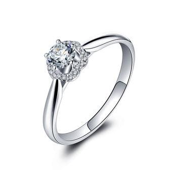 1 Karats 18k Gold And White Engagement Ring