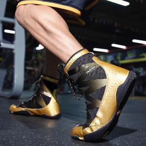 Zapatos profesionales de lucha para hombre, zapatillas de boxeo antideslizantes doradas, transpirables, cómodas, 39-47 talla grande, 2020