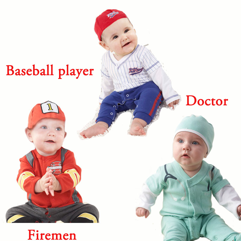 Infant Baby Cosplay Firemen Doctor Jumpsuit Costume Cotton Newborn Boys Soldier Baseball Player Rompers With Hat Toddler Outfit