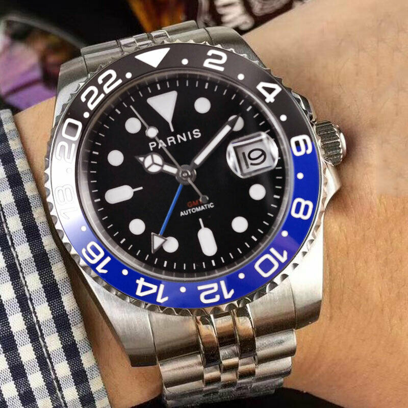 40mm PARNIS Self Winding Men Watch Date Indicator MINGZHU 3804 Movement Jubilee Strap Sapphire Glass