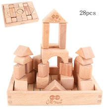 Free shipping Kids 28/32/56pcs Beech Building blocks, shape of the cognitive blocks puzzle blocks early wooden toys for children цена 2017