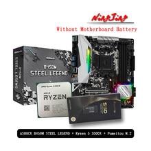 AMD Ryzen 5 3500X R5 3500X CPU + ASROCK B450M çelik LEGEND anakart + Pumeitou M.2 256G 512G SSD takım soket AM4 Fan olmadan