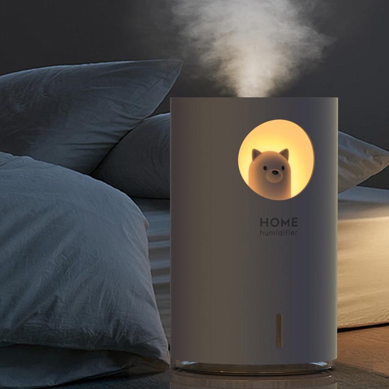 ELOOLE 700ml USB Ultrasonic Air Humidifier LED Night Light Lovely Bear Moon Aroma Essential Oil Diffuser Home Car Humidification