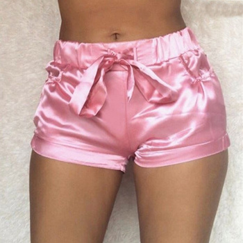 Summer Pink Silk Satin Shorts Women Sexy High Waist Bodycon Flannel Short Pants Pantalones Mujer Fitness Sleep Wear image