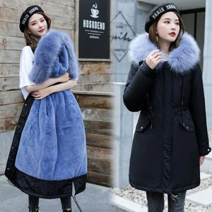 Image 5 - Veste dhiver longue à capuche pour femme, vêtement dhiver épais, doublure en fourrure, peut être 30 degrés