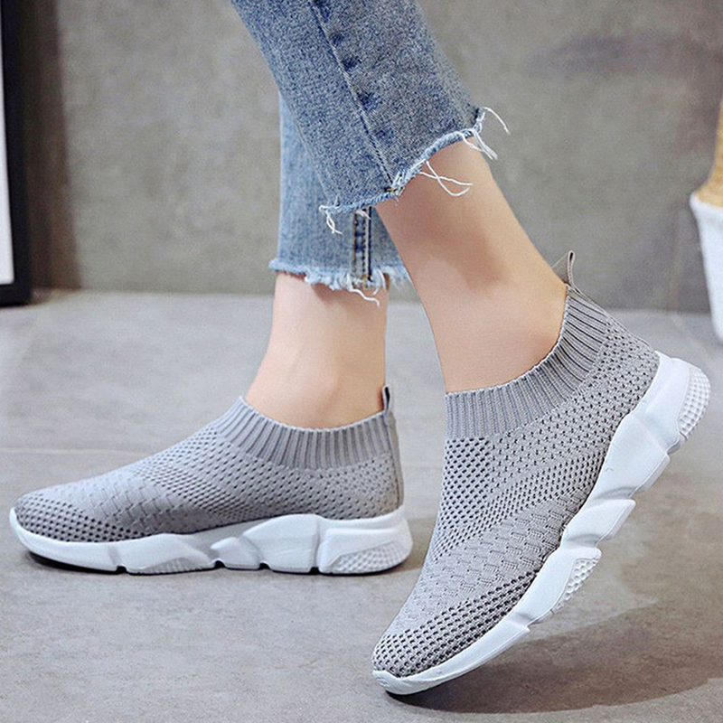 Women Shoes Sneakers Stretch Fabric White Sneakers Plus Size 42 Gym Shoes Woman Zapatillas Mujer Casual Shoes Chaussures Femme