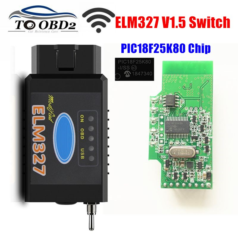 HS-CAN/MS-CAN elm327 v1.5 interruptor pic18f25k80 chip suporte bluetooth/wifi elm 327 para ford forscan obd2 scanner de diagnóstico do carro