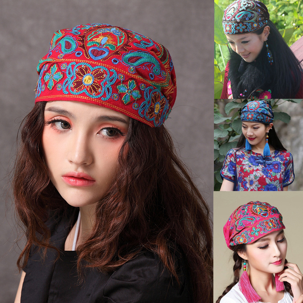 2020 New Women Style Ethnic Vintage Embroidery Flowers Bandanas Red  Print Hat Sunscreen Sunshade Flat Cap Visors Hats#3