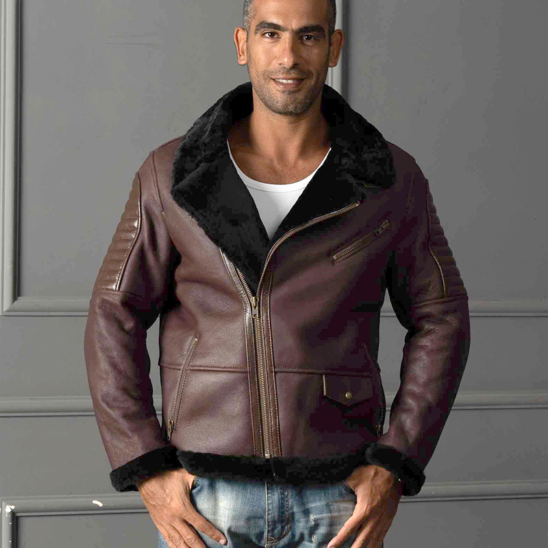 8016 high quality super warm genuine sheep leather jacket mens big size B3 shearling bomber military fur jacket