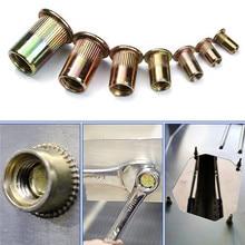 165/210PC Carbon Steel Zinc Plated Knurled Nuts Flat Head Threaded Rivet Insert Nutsert Cap Rivet Nut Assortment Kit M3-M12