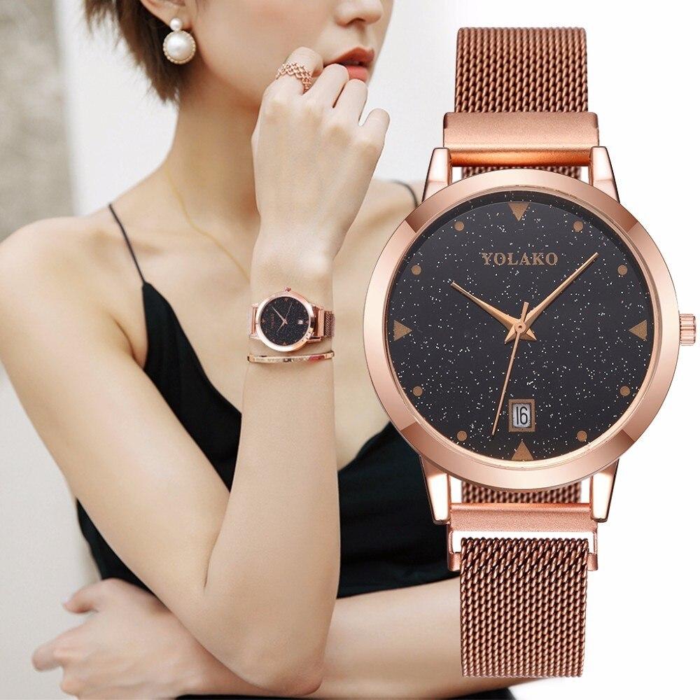 Women Magnet Buckle Starry Sky Watch With Calendar Luxury Ladies Stainless Steel Quartz Watch Top Brand Relogio Feminino