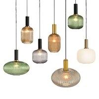 Nordic Glasmalerei LED Anhänger Lampen Moderne Gestreifte Vintage Hause Kronleuchter Küche Wohnzimmer Schlafzimmer Decor Hängende Beleuchtung