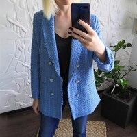 ZXQJ-chaquetas azules elegantes de Tweed para mujer, chaqueta holgada Vintage, ropa de calle informal para mujer, trajes para niña 2021