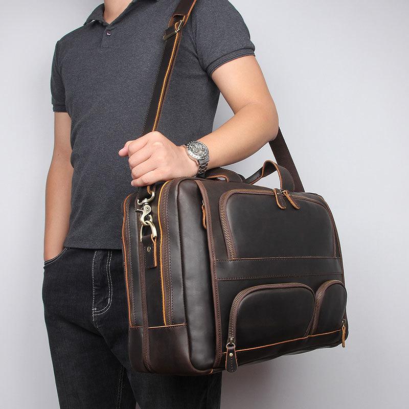 Nesitu Top Quality New Big Brown Genuine Crazy Horse Leather 17'' Laptop Men Briefcase Business Travel Messenger Bag Portfolio