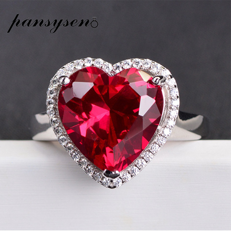 PANSYSEN 14x14mm Heart Red Ruby Gemstone Adjustable Rings For Women Real 925 Sterling Silver Wedding Party Jewelry Ring Gifts
