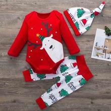 Г. Рождественский комплект одежды для новорожденных девочек, боди с резинкой и принтом медведя из мультфильма, штаны шапка, наряд Новогодняя одежда для младенцев