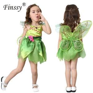 Image 1 - 나비 꽃 요정 코스프레 의상 소녀 할로윈 카니발 축제 파티 성능 드레스 날개 Garlands 포함