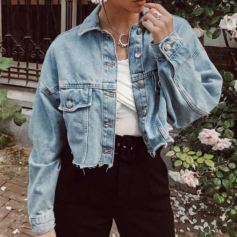 2020 primavera outono colheita denim jaqueta feminina manga longa namorado estilo casual azul jean jaqueta senhora botão vintage colheita superior casaco