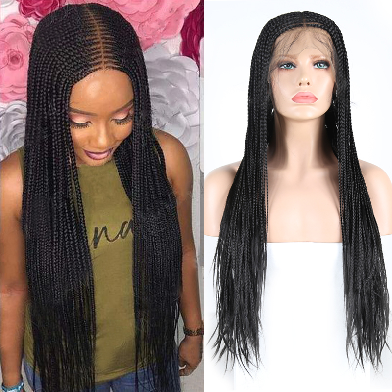 Charisma 13X6 Black Wigs Heat Resistant Hair Braided Wig Middle Part Synthetic Lace Front Wig With Baby Hair Lace Wigs For Women