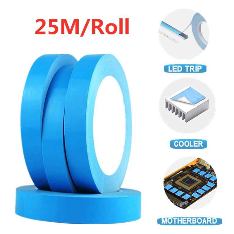 25M/Roll * 3/5/8/10/12/15/18/20mm Double Sided Adhesive Super Strong Thermal Conductive Tape for Chip PCB LED Strip Heatsink Лента      АлиЭкспресс