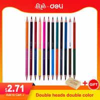Deli creativo dicromático profesional lápices de colores para el colegio chico dibujo arte suministro calidad aceite madera pastel lápiz conjunto